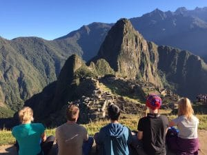 Perfect team photo of Machu Picchu