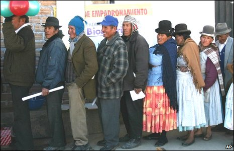 Indigenous Bolivian communities queueing to vote.